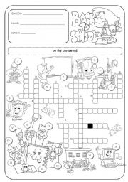 English Worksheet: School crossword