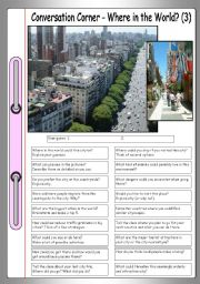 English Worksheet: Conversation Corner: Where in the World? (3) - The city