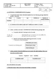 English Worksheet: MID-TERM TEST N��1(1st form)
