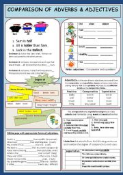 English Worksheet: Comparison: Adjectives/Adverbs