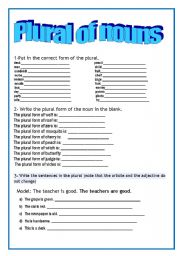 English Worksheets: Plural of nouns-exercises