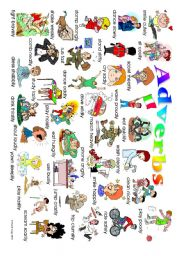 English Worksheets: Adverb Poster: classroom and student versions