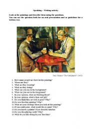 English Worksheets: The cardplayers
