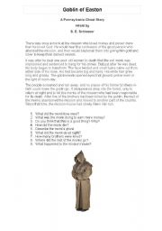 English Worksheets: comprehension about the supernatural