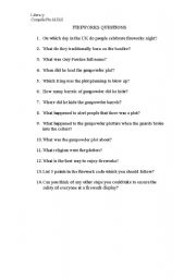 English Worksheets: Firework questions