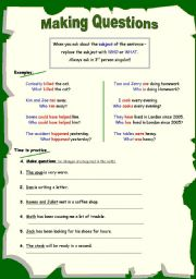 English Worksheet: making questions 3