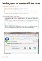 English worksheet: Tutorial: atube catcher (free software) - download, search, convert and burn CD / DVD (YouTube videos) [2 pages with pictures]