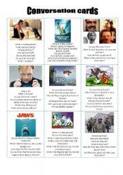 English Worksheet: Conversation cards - Movies