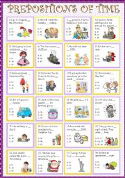English Worksheet: Prepositions of time ( in, on, at )