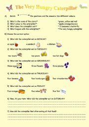 English Worksheets: The Very Hungry Caterpillar(Story)