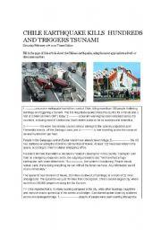 English Worksheet: Cloze exercise based on Chile earthquake, 2010