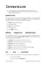 English teaching worksheets: Inversion