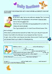 English Worksheets: DAILY ROUTINES -