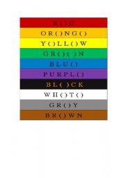 English worksheet: color name