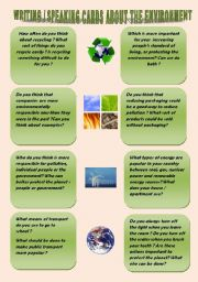 English Worksheets: WRITING / SPEAKING CARDS ABOUT THE ENVIRONMENT