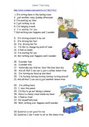 English Worksheet: Lemon Tree song and you tube linked task
