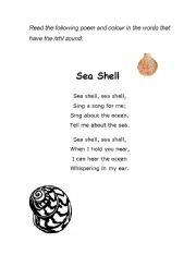 English worksheet: Sea Shell Poem -