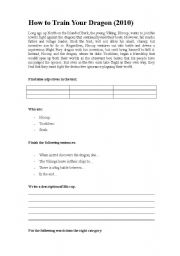 How to Train Your Dragon - worksheet to accompany video trailer