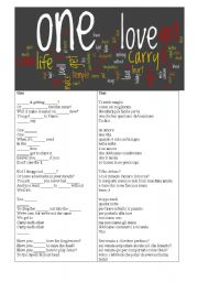 English Worksheets: One -U2
