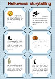 English Worksheets: Storytelling cards for Halloween. *Editable*