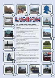 English Worksheets: London sights 2 - Pictionary, matching, fill-in exercise (editable, with key)