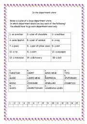 English worksheet: shopping
