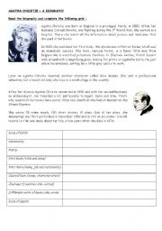 English Worksheet: Agatha Christie - a biography