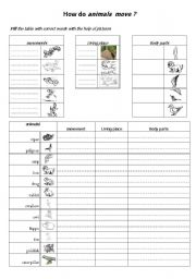 English Worksheets: the movement of animals