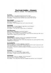 English worksheet: The Great Gatsby - Glossary 1