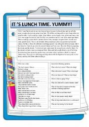 English Worksheets: It�s lunch time. Yummy. Reading comprehension.