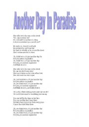 English Worksheet: work with the song another day in the paradise
