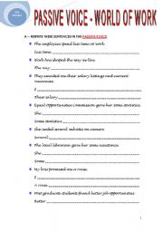 English Worksheets: PASSIVE VOICE - WORLD OF WORK
