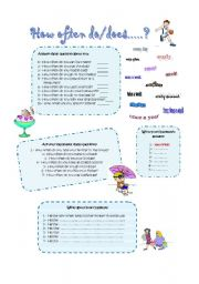 English Worksheets: HOW OFTEN DO/DOES....?
