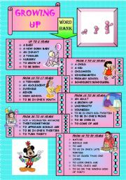 English Worksheet: Growing up - Vocabulary teaching and reading comprehension