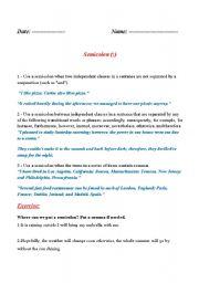 English Worksheets: Semicolon