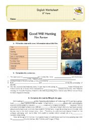 good will hunting film review & comprehension exercises