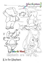 English Worksheets: E is for elephant