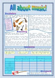 English Worksheets: All about music 1