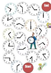 English Worksheet: The Clock_Board Game
