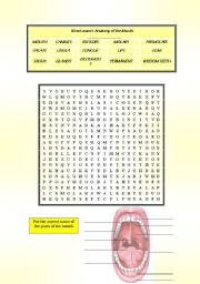 English Worksheets: Parts of the Mouth