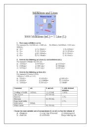 English Worksheets: Millilitres and Litres