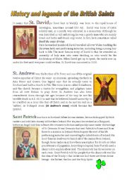 English Worksheet: History and legends in the lives of the British Saints