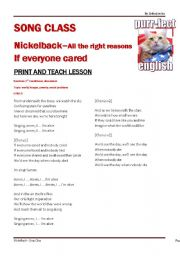English Worksheets: Nickelback - If everyone cared