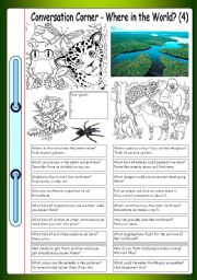 English Worksheet: Conversation Corner: Where in the World? (4) - Rainforest