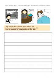 English Worksheets: writing practice-transportation+work