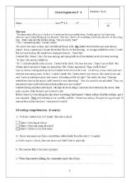 English Worksheet: First global test  for 9th basic education form ( Tunisian curriculum)