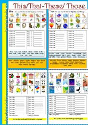 English Worksheet: Demonstratives:This/ That - These/ Those-part1