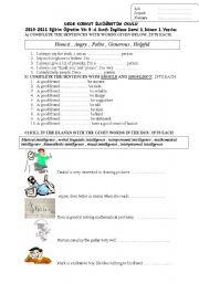 English Worksheet: 8th grade 1st term 1st exam 2011-2012