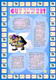 Guy Fawkes (Part 1/2): Encrypted Reading + 3 exercises (vocabulary & comprehension). 2 pages!!!