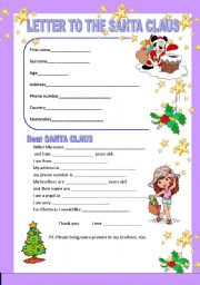 English Worksheet: LETTER TO THE SANTA CLAUS
